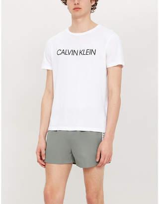 Calvin Klein Side-stripe logo-print swim shorts