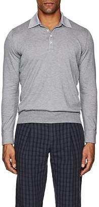 Fioroni Men's Cotton-Cashmere Long-Sleeve Polo Shirt