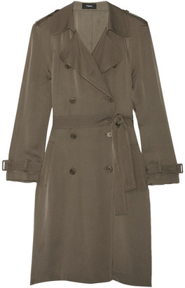 Theory - Laurelwood Silk Crepe De Chine Trench Coat - Army green $595 thestylecure.com