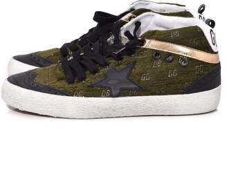 Golden Goose Mid Star Sneaker in Green Velvet Jacquard/Black Star
