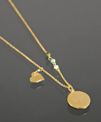 Danielle Stevens gold engraved 'Mom' disc necklace