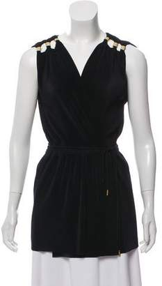 Diane von Furstenberg Accordion Pleated Sleeveless Blouse