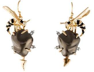 Alexis Bittar Crystal & Faux Pearl Hornet Drop Earrings