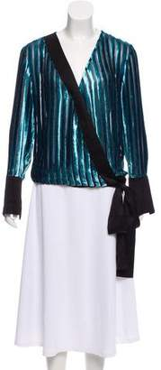 Diane von Furstenberg Velvet Striped Top w/ Tags