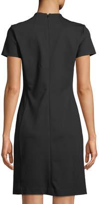 Neiman Marcus Short-Sleeves Midi Sheath Dress