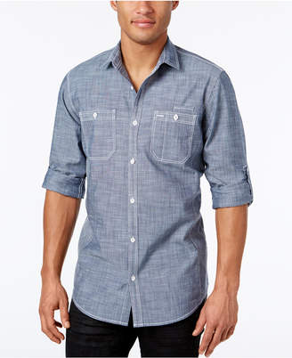 INC International Concepts I.n.c. Men Chambray Dual-Pocket Shirt