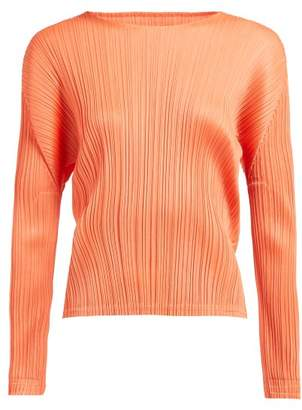 Pleats Please Issey Miyake Round Neck Pleated Top - Womens - Coral