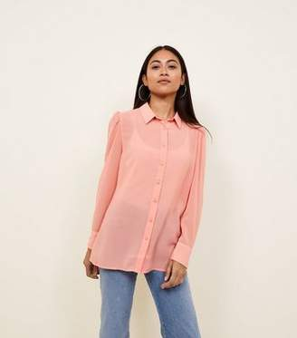 New Look Petite Coral Step Hem Chiffon Shirt