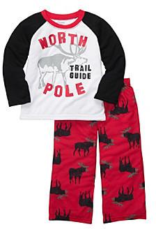 Carter's Boys' 2T-4T Black 2-pc. Long Sleeve Moose Pajama Set