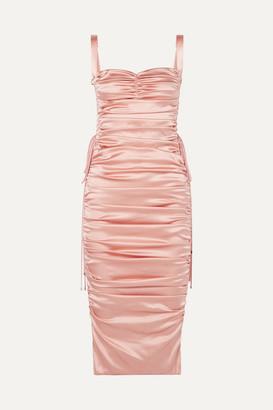 Dolce & Gabbana Lace-up Ruched Stretch-silk Satin Midi Dress