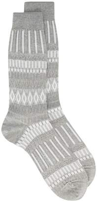 Ayame grey Basket Lunch patterned socks