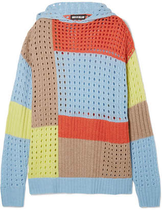 House of Holland Hooded Patchwork Merino Wool-blend Sweater - Blue