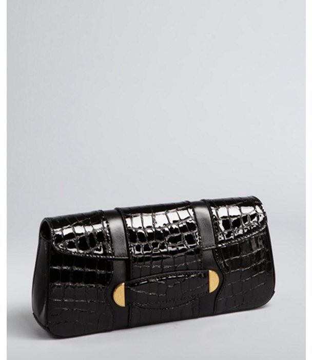 Marc Jacobs black croc embossed patent leather 'Ruby' clutch