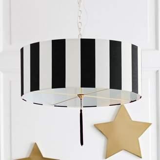 Pottery Barn Teen The Emily & Meritt Awning Stripe Drum Pendant, Black/White