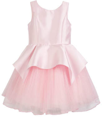 Zoe Pointed Peplum Matte Sateen Dress w/ Pleated Tulle Skirt, Size 7-16
