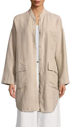 Eileen Fisher Mandarin Collar Linen Jacket
