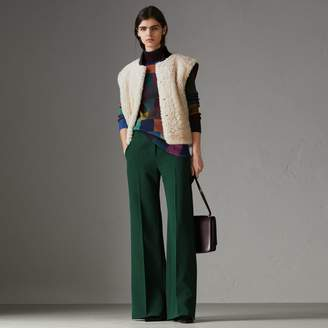 Burberry Two-tone Rib Knit Trim Shearling Gilet