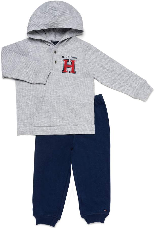 Tommy Hilfiger 2-Piece Thermal Henley Shirt and Pant Set in Grey/Navy