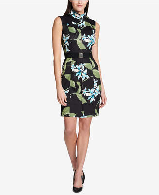 Tommy Hilfiger Floral-Printed Belted Scuba Dress