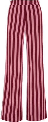 ALEXACHUNG Striped Crepe Wide-leg Pants - Pink