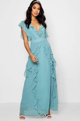 boohoo Boutique Waterfall Ruffle Maxi Dress