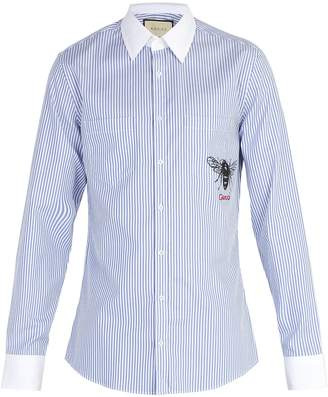 Gucci Bee-print striped cotton shirt
