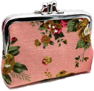 iSuperb Coin Pouch Purse Cute Double-layer Rose Pattern Canvas Gift Jewelry Cards Trinkets Pouch Clasp Closure Wallet