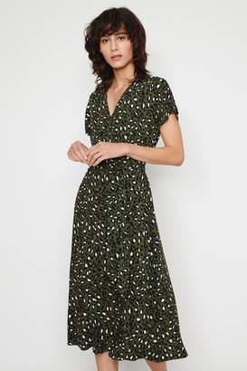 Warehouse Womens Green Leopard Button Midi Dress - Green