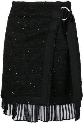 Karl Lagerfeld scattered sequin bouclé wrap skirt