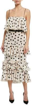 Johanna Ortiz Florence Baker Polka-Dot Tiered Ruffled Cami-Strap Sun Dress
