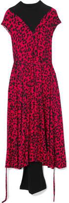 Vetements Paneled Leopard-print Stretch-jersey Midi Dress - Red