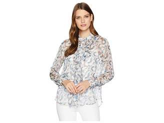 Vince Camuto Long Sleeve Ruffle Front Boutique Floral Blouse Women's Blouse