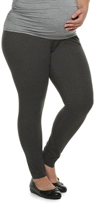 20af5fc36e6 A Glow Plus Size Maternity a glow Full Belly Panel Solid Leggings