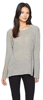 Enza Costa Women's Drop Needle Long Sleeve Side Slit Crew Sweater