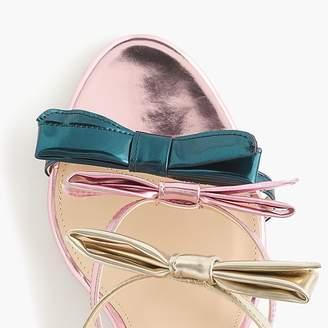 J.Crew Stella bow heels (100mm) in metallic emerald