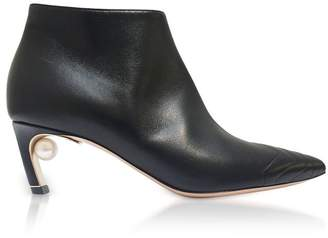 Nicholas Kirkwood Black Quilted Nappa 55mm Mira Pearl Low Booties