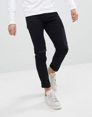 Weekday Friday Black Distressed Skinny Jeans