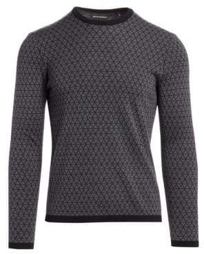 Emporio Armani Bi-Color Geometric Jacquard Wool Sweater