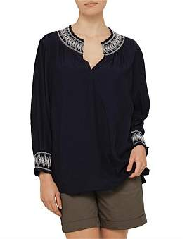 David Jones Woven Peasant Top