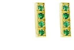 Jennifer Meyer Emerald Bar Studs - Yellow Gold