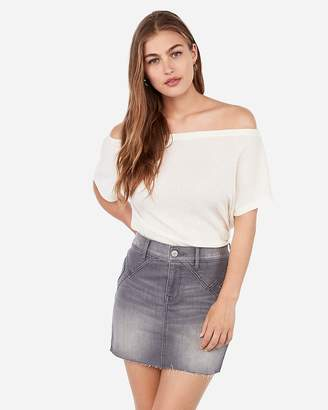 Express Mid Rise Grey Straight Seamed Mini Denim Skirt