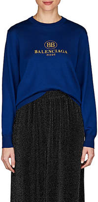 Balenciaga Women's Logo-Embroidered Wool Sweater - Blue
