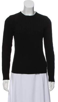 Ralph Lauren Suede-Trimmed Cable Knit Sweater Black Suede-Trimmed Cable Knit Sweater