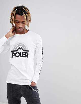 Poler Mountain Rainbow Long Sleeve T-Shirt With Large Logo
