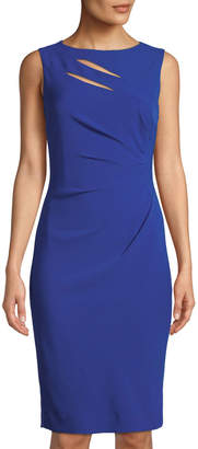 Tahari ASL Sleeveless Ruched-Waist Dress
