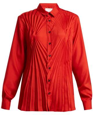 Maison Margiela Pleated Satin Blouse - Womens - Red