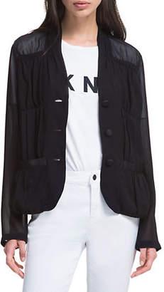 DKNY Long-Sleeve Sheer Pleated Jacket