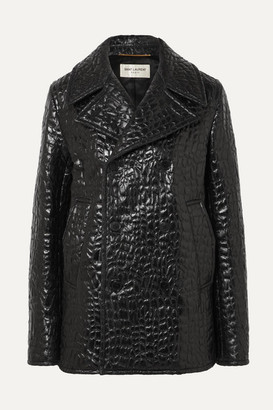 Saint Laurent Double-breasted Croc-effect Faux Leather Jacket - Black