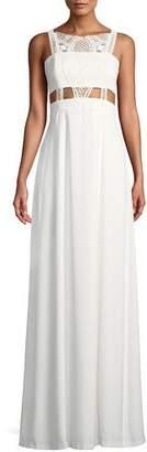 Aidan Mattox Crepe & Lace Sleeveless Gown