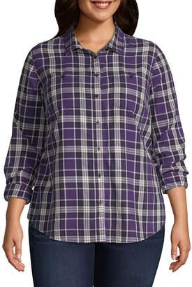 ST. JOHN'S BAY Brushed Twill Button Up Shirt - Plus